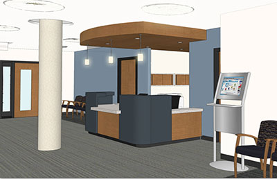 A rendering of the inside of the nearly completed Alfred and Sarah Rosenbloom Center on Vision and Aging.
