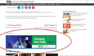 "One of ASCO's ads in the vision and hearing campaign, ""Changing Lives Daily."""