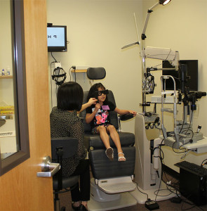 One of 1,300 students to date who have received a comprehensive eye exam provided through a partnership between a San Antonio school district, the University of the Incarnate Word Rosenberg School of Optometry and the Essilor Foundation.