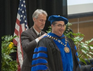 Dr. Reich with Steven T. Reed, Chair of the SCO Board of Trustees, during the ceremony.