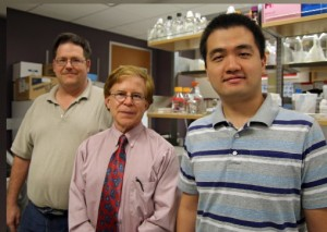 IUSO's Dr. Thomas Gast, center, with John Gens, left, and Xiao Fu of the university's Biocomplexity Institute. (Photo by Indiana University)