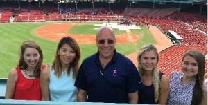 Dr. Daniel Laby with students Jackie Molinda, Taylor Wolke, Emily Cheng and Catherine Dardenne at Fenway Park in Boston.