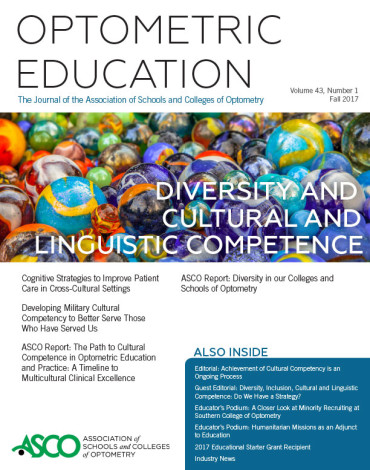 Special Optometric Education Journal Issue on Diversity and Cultural Competence Available